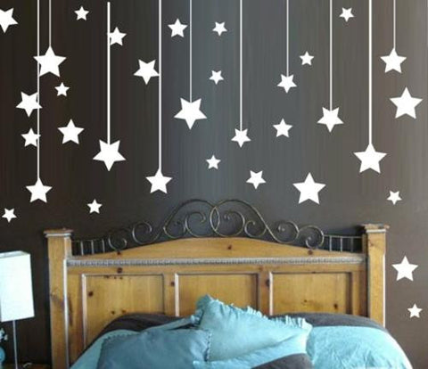 Various Sized Hanging Stars Set of 95 Wall Art Sticker Vinyl Decals