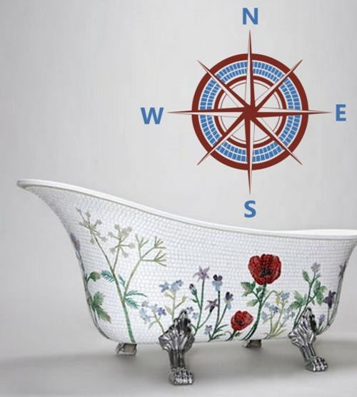 Nautical Compass Two Colour Wall Art Sticker Vinyl Decal Various Sizes