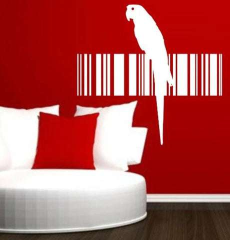 PARROT BIRD BARCODE 11 WALL ART STICKER XLRG VINYL DECAL - Vinyl Lady Decals  - 1