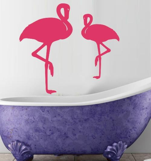 PAIR OF FLAMINGO BIRDS WALL ART STICKER LRG VINYL DECAL - Vinyl Lady Decals  - 1