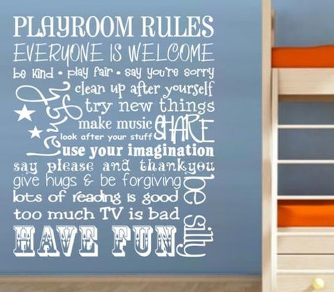 PLAYROOM RULES FOR YOUR CHILD'S ROOM DESIGN 2 WALL ART STICKER LRG VINYL DECAL - Vinyl Lady Decals  - 1