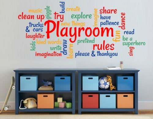 Playroom Rules For Child's Room Wall Art Stickers Vinyl Decals Various Sizes