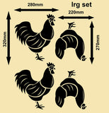 SET OF HENS & ROOSTERS 1 WALL ART STICKERS XLRG VINYL DECAL - Vinyl Lady Decals  - 7