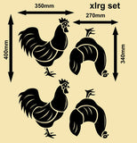 SET OF HENS & ROOSTERS 1 WALL ART STICKERS XLRG VINYL DECAL - Vinyl Lady Decals  - 6