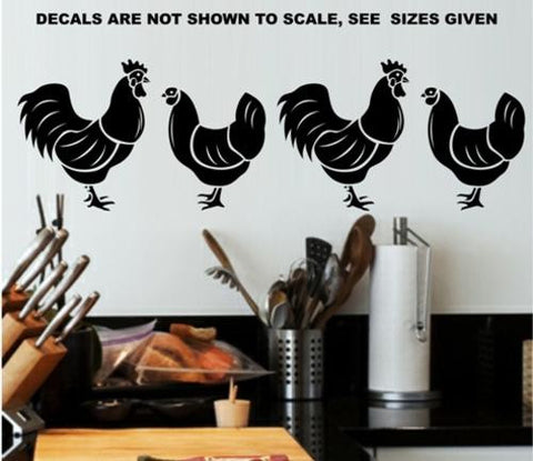 SET OF HENS & ROOSTERS 1 WALL ART STICKERS XLRG VINYL DECAL - Vinyl Lady Decals  - 1
