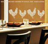 SET OF HENS & ROOSTERS 1 WALL ART STICKERS XLRG VINYL DECAL - Vinyl Lady Decals  - 5