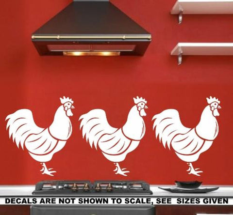 SET OF ROOSTERS 1 WALL ART STICKERS XLRG VINYL DECAL - Vinyl Lady Decals  - 1