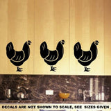 SET OF HENS 1 WALL ART STICKER XLRG VINYL DECAL - Vinyl Lady Decals  - 3
