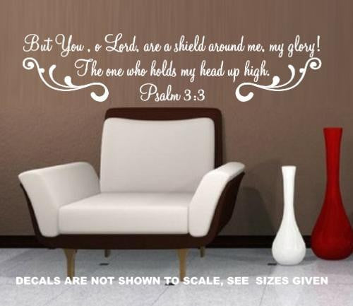 PSALM 3:3 BIBLE QUOTATION 2 STICKER LRG VINYL DECAL - Vinyl Lady Decals  - 1
