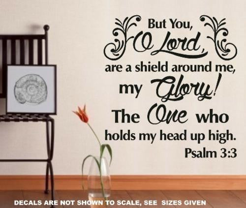 PSALM 3:3 BIBLE QUOTATION 1 STICKER XLRG VINYL DECAL - Vinyl Lady Decals  - 1