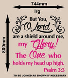 PSALM 3:3 BIBLE QUOTATION 1 STICKER XLRG VINYL DECAL - Vinyl Lady Decals  - 7