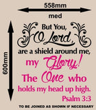 PSALM 3:3 BIBLE QUOTATION 1 STICKER XLRG VINYL DECAL - Vinyl Lady Decals  - 8