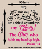 PSALM 3:3 BIBLE QUOTATION 1 STICKER XLRG VINYL DECAL - Vinyl Lady Decals  - 3