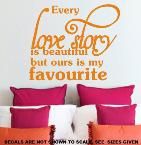 OUR LOVE STORY ROMANTIC QUOTE 1 WALL ART STICKER LRG VINYL DECAL - Vinyl Lady Decals  - 1