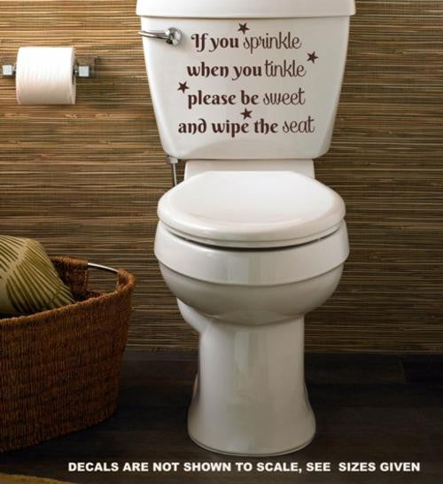 If You Sprinkle When you Tinkle Bathroom Quote Wall Art Sticker Vinyl Decal