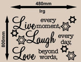 LIVE, LAUGH, LOVE INSPIRATIONAL QUOTATION 1 WALL ART STICKER XLRG VINYL DECAL - Vinyl Lady Decals  - 7