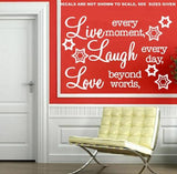 LIVE, LAUGH, LOVE INSPIRATIONAL QUOTATION 1 WALL ART STICKER XLRG VINYL DECAL - Vinyl Lady Decals  - 5