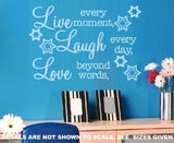LIVE, LAUGH, LOVE INSPIRATIONAL QUOTATION 1 WALL ART STICKER XLRG VINYL DECAL - Vinyl Lady Decals  - 4
