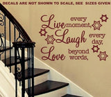 LIVE, LAUGH, LOVE INSPIRATIONAL QUOTATION 1 WALL ART STICKER XLRG VINYL DECAL - Vinyl Lady Decals  - 3