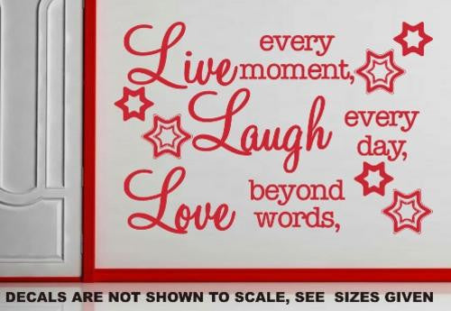 LIVE, LAUGH, LOVE INSPIRATIONAL QUOTATION 1 WALL ART STICKER XLRG VINYL DECAL - Vinyl Lady Decals  - 1