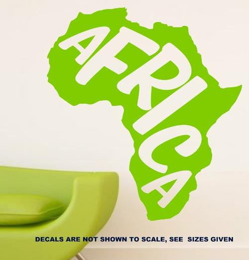 Africa Word Silhouette Wall Art Sticker Vinyl Decal Various Sizes