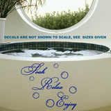 SOAK, RELAX, ENJOY BATHROOM QUOTE & BUBBLES WALL ART STICKER XLRG VINYL DECAL - Vinyl Lady Decals  - 3