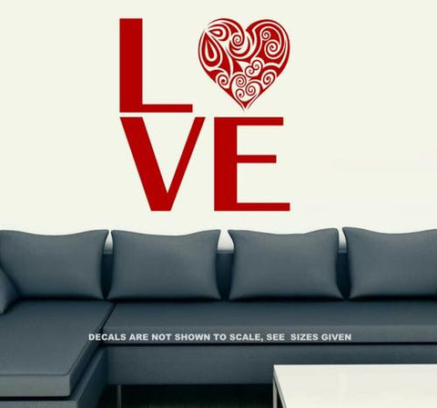 LOVE WITH PRETTY HEART WALL ART STICKER LRG VINYL DECAL - Vinyl Lady Decals  - 1