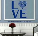 LOVE WITH PRETTY HEART WALL ART STICKER LRG VINYL DECAL - Vinyl Lady Decals  - 5