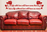 A Life With Love Romantic Quotation Wall Art Sticker Vinyl Decal Various Sizes Set of Two