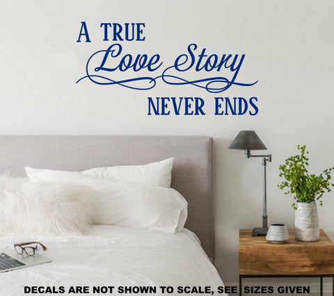 A True Love Story Romantic Quotation Wall Art Sticker Vinyl Decal