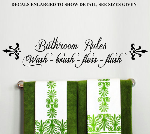 Bathroom Rules Inspiration Quote Set of Two Wall Art Stickers Vinyl Decal Various Sizes