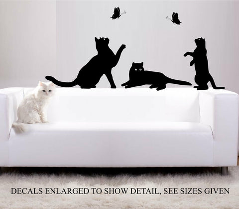 PLAYING  CATS SILHOUETTE WALL ART STICKER VINYL DECAL VARIOUS SIZES