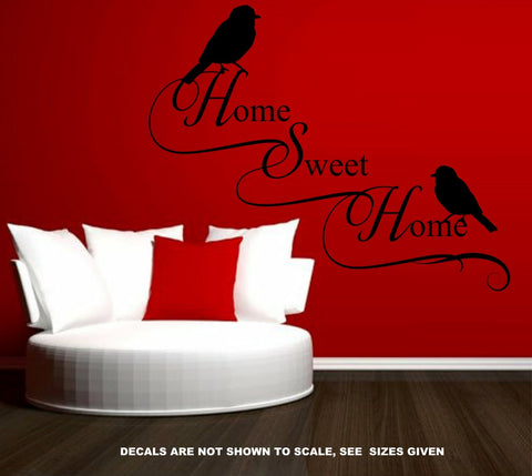 HOME SWEET HOME WITH BIRDS QUOTE WALL ART STICKER VINYL DECAL VARIOUS SIZES
