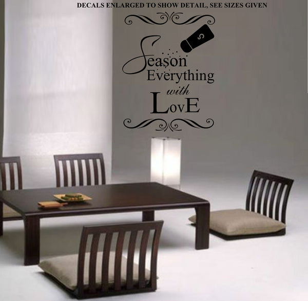 Season Everything With Love Kitchen Wall Art Sticker Vinyl Decal Various Sizes