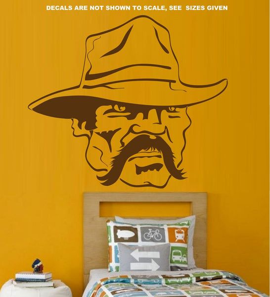 Old Cowboy Face Wall Art Sticker Vinyl Decals Various Sizes