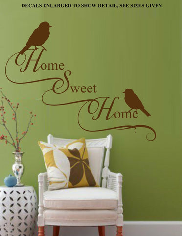 Home Sweet Home With Birds Quotation Wall Art Sticker Vinyl Decal Various Sizes