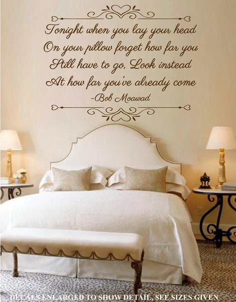 TONIGHT WHEN YOU LAY YOUR HEAD BEDROOM QUOTE STICKER VINYL DECAL VARIOUS SIZES