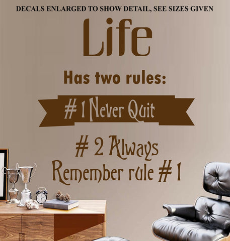Never Quit Inspirational Quote Wall Art Sticker Vinyl Decals Various Sizes