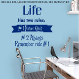 NEVER QUIT, LIFE HAS TWO RULES WALL ART STICKER VINYL DECAL VARIOUS SIZES