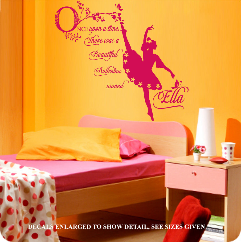 Personalised Once Upon A Time Ballerina Quotation Wall Art Sticker ...