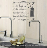 Help With The Dishes Wall Art Sticker Vinyl Decal Various Sizes