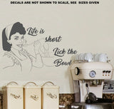 Life Is Short, Lick The Bowl Kitchen Quotation Wall Art Sticker Vinyl Decal Various Sizes