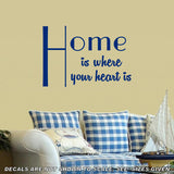 Home Is Where Your Heart Is Quotation Wall Art Sticker Vinyl Decal Various Sizes