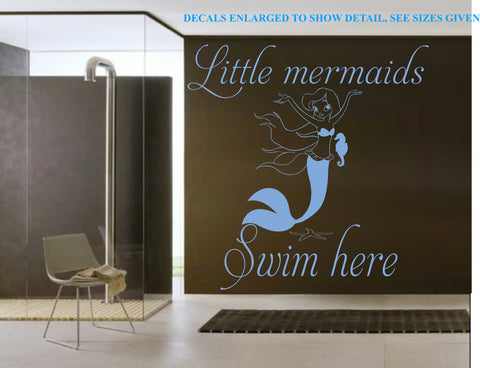 Little Mermaids Swim Here Wall Art Sticker Vinyl Decal Various Sizes