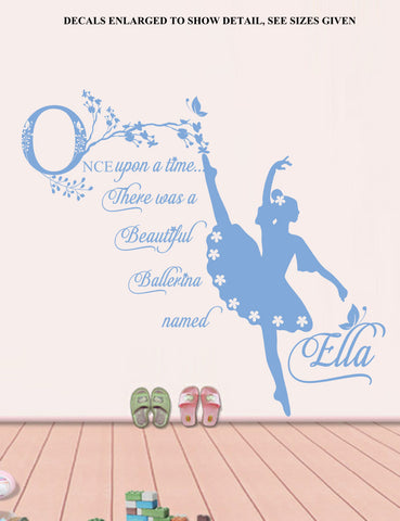 Personalised Once Upon A Time Ballerina Quotation Wall Art Sticker Vinyl Decal Various Sizes