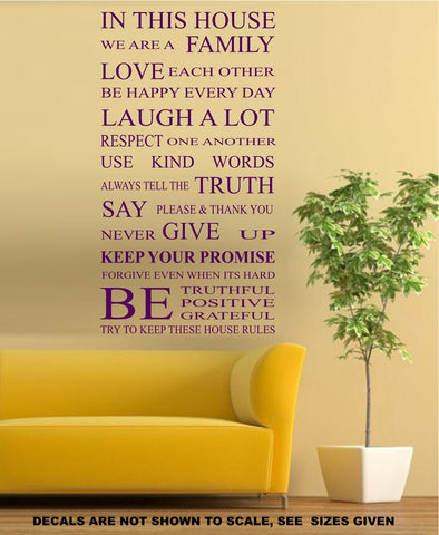 House Rules Family Inspirational Quotation Sticker Vinyl Decal Various Sizes