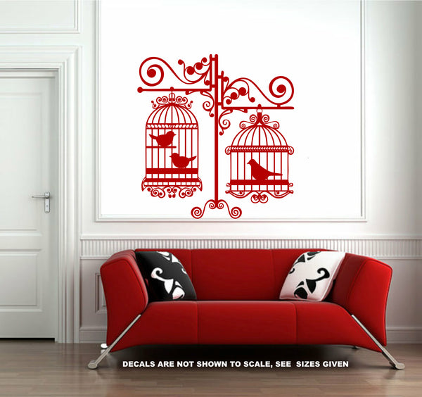 Ornate Double Bird Cages Wall Art Sticker Vinyl Decals Various Sizes