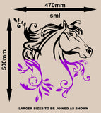 Floral Horse Wall Art Sticker Vinyl Decal Various Sizes