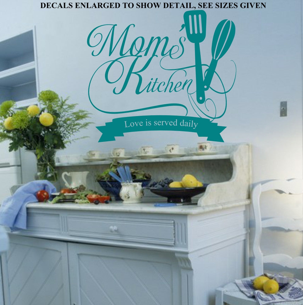 MOMS KITCHEN LOVE IS SERVED DAILY QUOTE WALL ART STICKER VINYL DECAL ...