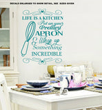 Life Is A Kitchen Quotation Wall Art Sticker Vinyl Decal Various Sizes